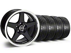 Staggered Deep Dish 2003 Cobra Style Black Wheel and Mickey Thompson Tire Kit; 17x9/10.5 (99-04 All)