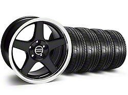 Staggered Deep Dish 2003 Cobra Style Black Wheel & Mickey Thompson Tire Kit - 17x9/10.5 (99-04 All)