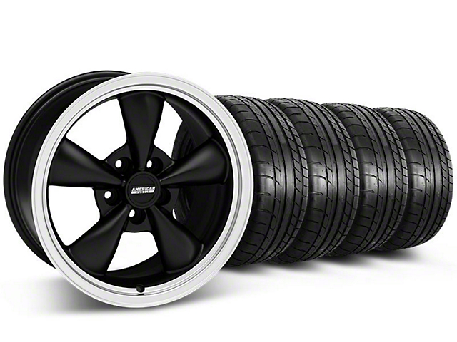 Staggered Deep Dish Bullitt Matte Black Wheel and Mickey Thompson Tire Kit; 17x9/10.5 (99-04 All)