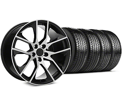 2015 Mustang GT Style Black Machined Wheel & Pirelli Tire Kit - 19x8.5 (05-14 GT, V6)