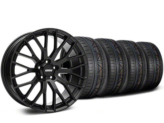 Performance Pack Style Black Wheel and NITTO INVO Tire Kit; 19x8.5 (05-14 GT, V6)