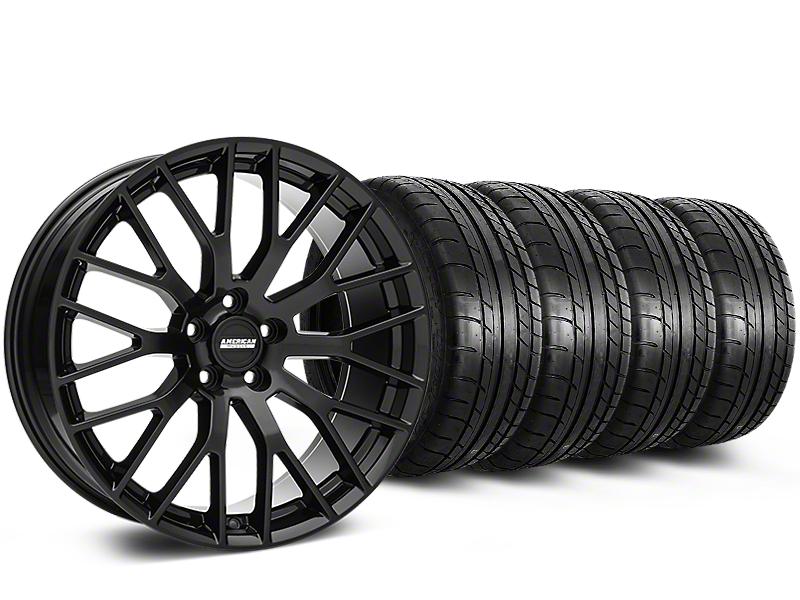 Performance Pack Style Black Wheel & Mickey Thompson Tire Kit - 19x8.5 (05-14 GT, V6)