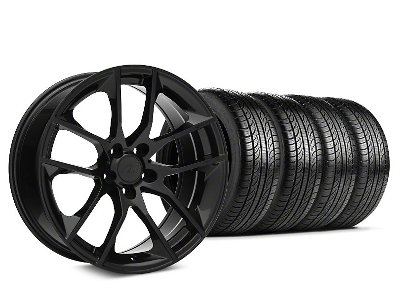 Staggered Magnetic Style Black Wheel & Pirelli Tire Kit - 19x8.5/10 (05-14 All)