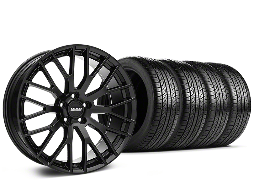 Staggered Performance Pack Style Black Wheel and Pirelli Tire Kit; 19x8.5 (05-14 All)