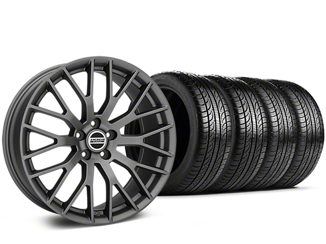 Staggered Performance Pack Style Charcoal Wheel & Pirelli Tire Kit - 19x8.5 (05-14)