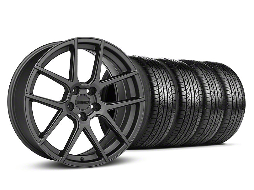 Staggered MMD Zeven Charcoal Wheel & Pirelli Tire Kit - 19x8.5/10 (05-14 All)