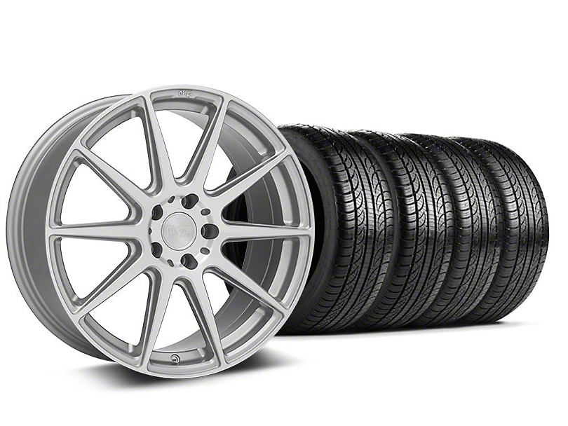 Staggered Niche Essen Silver Wheel & Pirelli Tire Kit - 19x8.5/10 (05-14 All)