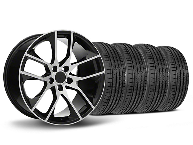 Staggered Magnetic Style Black Machined Wheel & Sumitomo Maximum Performance HTR Z5 Tire Kit - 19x8.5/10 (05-14 All)