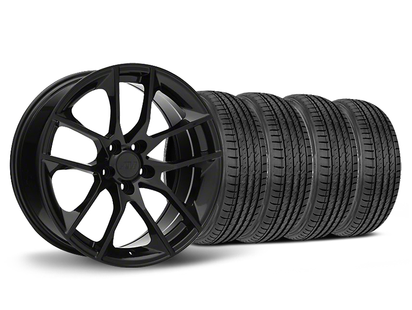 Staggered Magnetic Style Black Wheel and Sumitomo Maximum Performance HTR Z5 Tire Kit; 19x8.5/10 (05-14 All)
