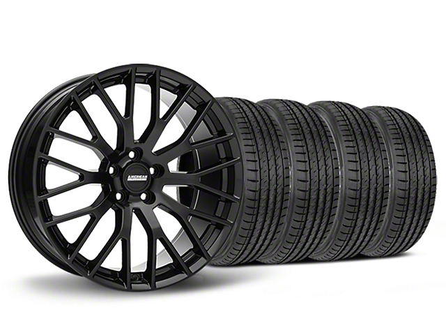 Staggered Performance Pack Style Black Wheel & Sumitomo Tire Kit - 19x8.5/10 (05-14)