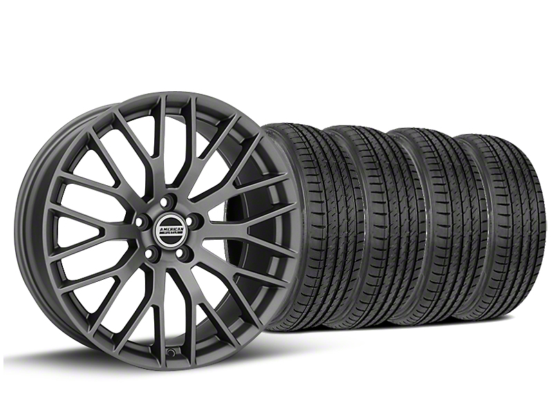 Staggered Performance Pack Style Charcoal Wheel & Sumitomo Tire Kit - 19x8.5/10 (05-14 All)