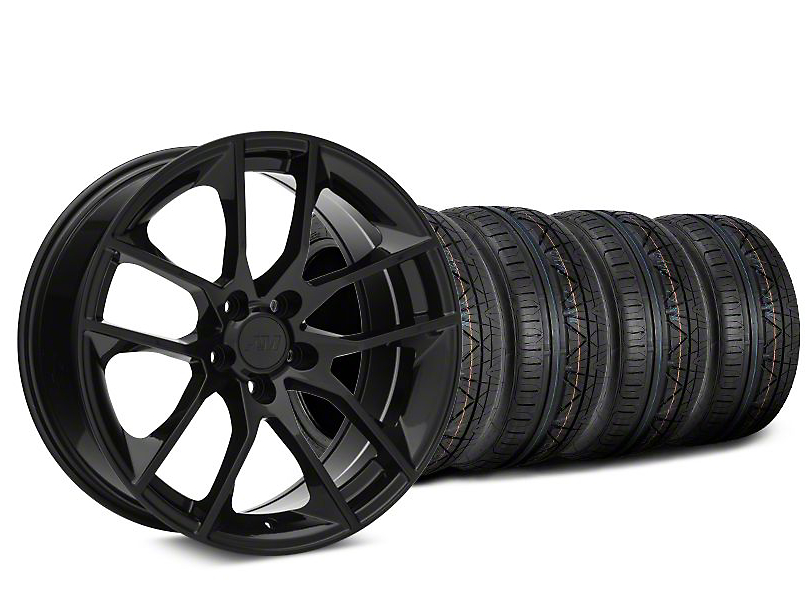 Staggered Magnetic Style Black Wheel & NITTO INVO Tire Kit - 19x8.5/10 (05-14 All)