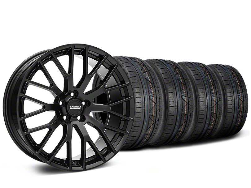 Staggered Performance Pack Style Black Wheel & NITTO INVO Tire Kit - 19x8.5 (05-14)