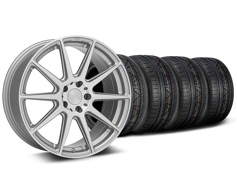 Staggered Niche Essen Silver Wheel & NITTO INVO Tire Kit - 19x8.5/10 (05-14 All)