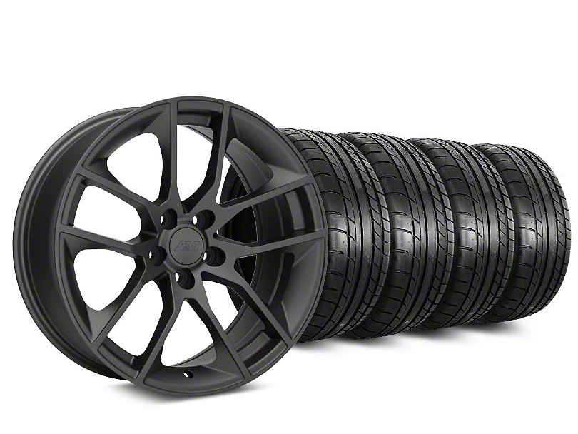 Staggered 2015 Mustang GT Style Charcoal Wheel & Mickey Thompson Tire Kit - 19x8.5 (05-14)