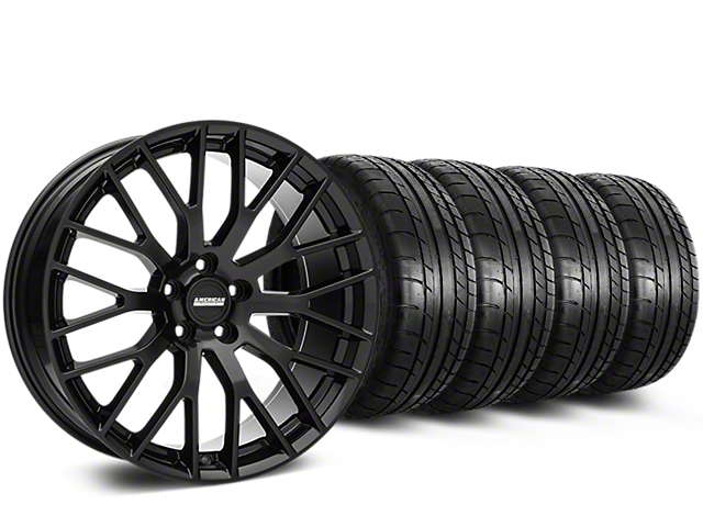 Staggered Performance Pack Style Black Wheel & Mickey Thompson Tire Kit - 19x8.5 (05-14 All)