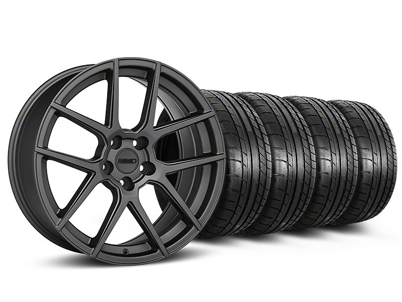 Staggered MMD Zeven Charcoal Wheel & Mickey Thompson Tire Kit - 19x8.5 (05-14)