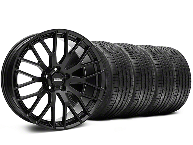 Staggered Performance Pack Style Black Wheel and Sumitomo Maximum Performance HTR Z5 Tire Kit; 20x8.5/10 (05-14 All)