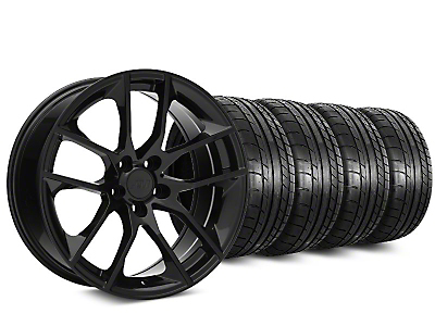 Staggered 2015 Mustang GT Style Black Wheel & Mickey Thompson Tire Kit - 20x8.5/10 (05-14 All)