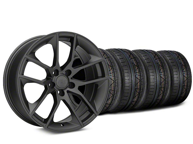 Staggered Magnetic Style Charcoal Wheel & NITTO Tire Kit - 20x8.5/10 (05-14 All)