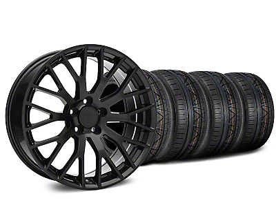 Staggered Performance Pack Style Black Wheel & NITTO Tire Kit - 20x8.5/10 (15-18 GT, EcoBoost, V6)