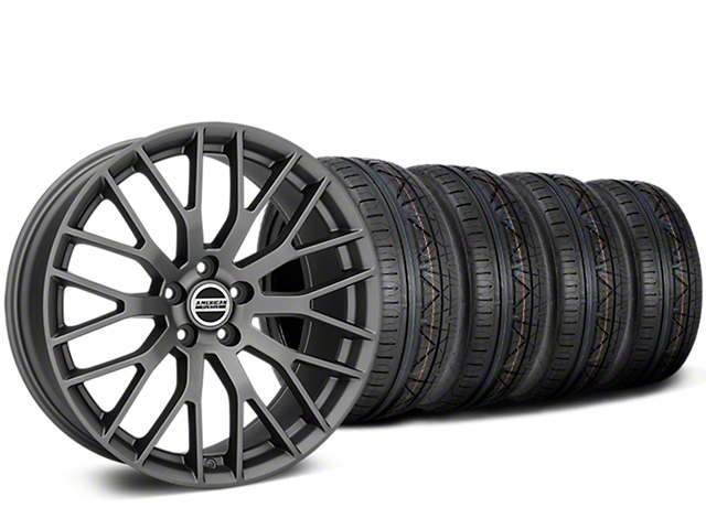 Staggered Performance Pack Style Charcoal Wheel & NITTO Tire Kit - 20x8.5/10 (05-14 All)