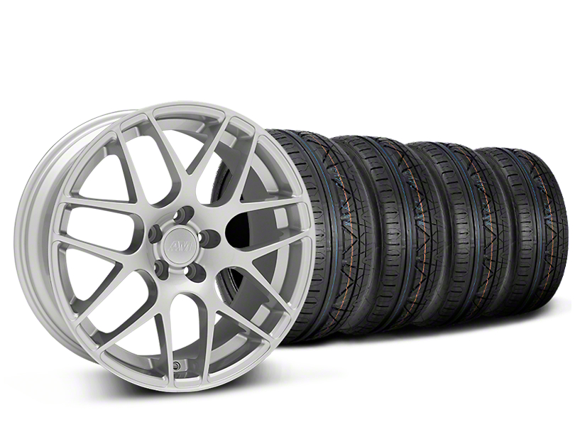 Staggered AMR Silver Wheel & NITTO INVO Tire Kit - 19x8.5/11 (05-14)