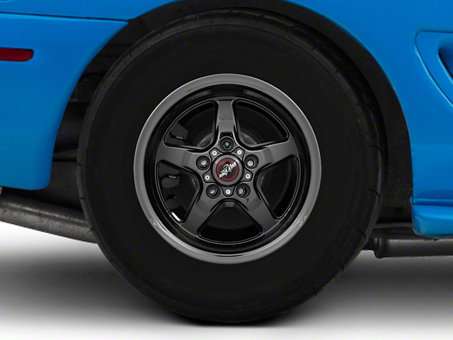 Race Star 92 Drag Star Dark Star Black Chrome Wheel; Rear Only; Direct Drill; 15x10 (94-98 GT, V6)