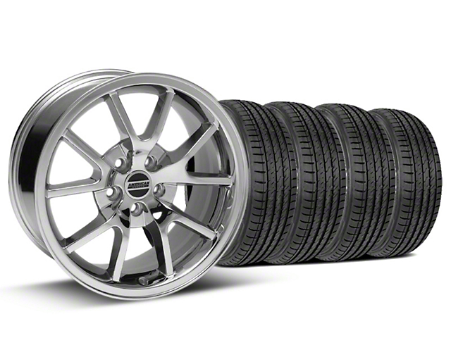 FR500 Style Chrome Wheel and Sumitomo Maximum Performance HTR Z5 Tire Kit; 17x9 (99-04 All)