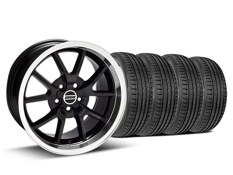 FR500 Style Black Wheel and Sumitomo Maximum Performance HTR Z5 Tire Kit; 17x9 (99-04 All)