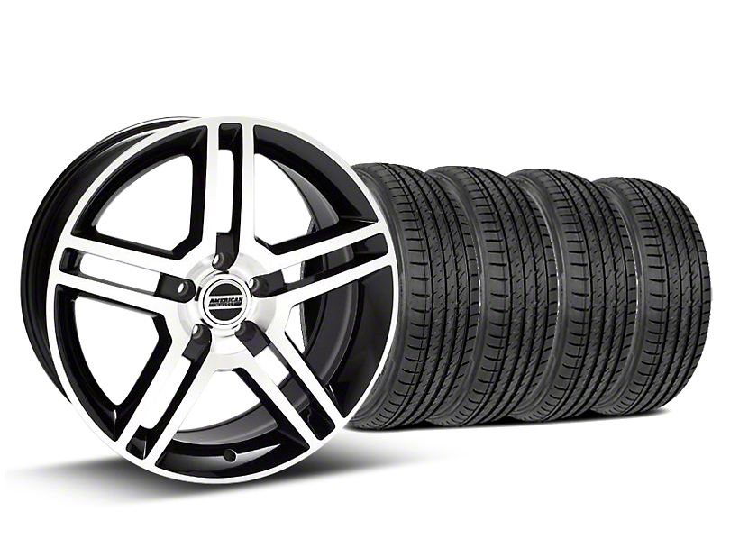 Staggered 2010 GT500 Style Black Machined Wheel and Sumitomo Maximum Performance HTR Z5 Tire Kit; 19x8.5/10 (05-14 All)