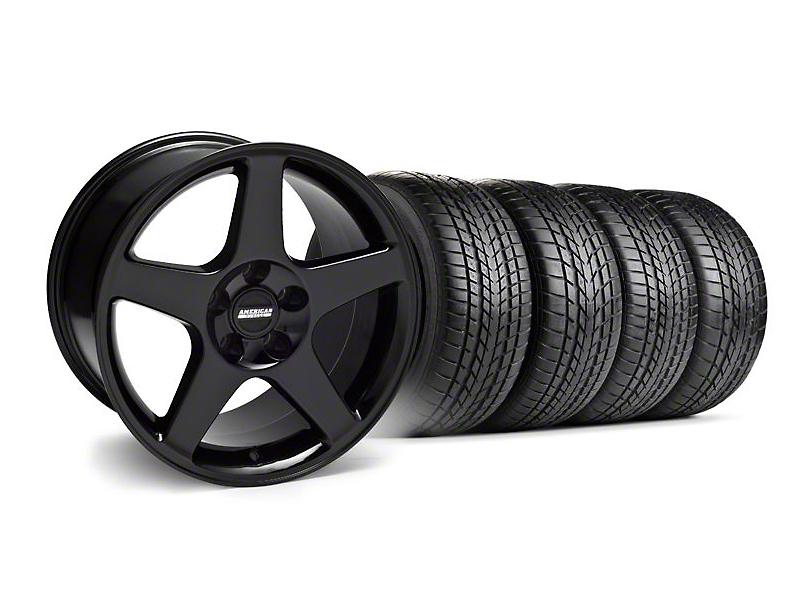 Staggered 2003 Cobra Style Black Wheel & Sumitomo Tire Kit - 17x9/10.5 (99-04)