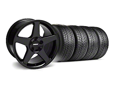Staggered 2003 Cobra Style Black Wheel & Sumitomo Tire Kit - 17x9/10.5 (99-04)