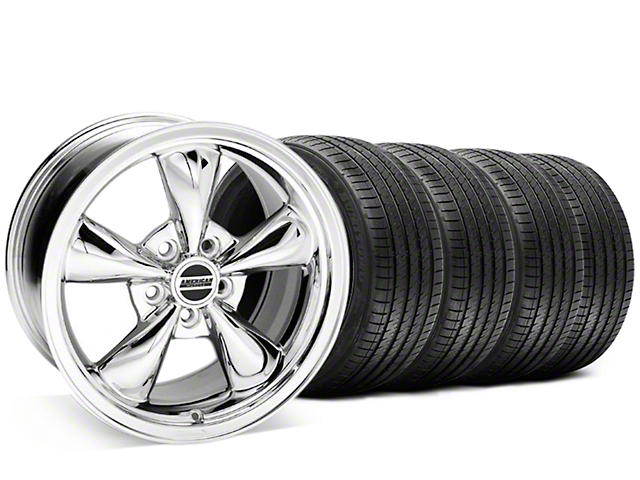 Staggered Bullitt Chrome Wheel and Sumitomo Maximum Performance HTR Z5 Tire Kit; 20x8.5/10 (05-10 GT; 05-14 V6)