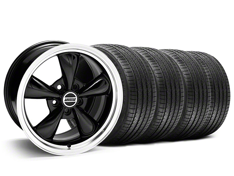 Staggered Bullitt Black Wheel and Sumitomo Maximum Performance HTR Z5 Tire Kit; 20x8.5/10 (05-10 GT; 05-14 V6)