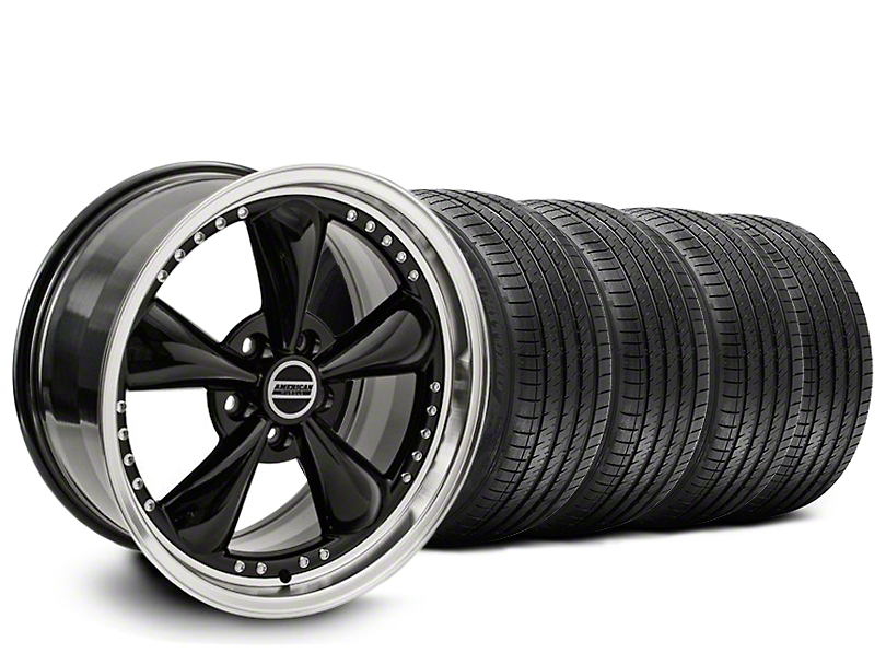Staggered Bullitt Motorsport Black Wheel & Sumitomo Maximum Performance HTR Z5 Tire Kit - 20x8.5/10 (05-10 GT; 05-14 V6)