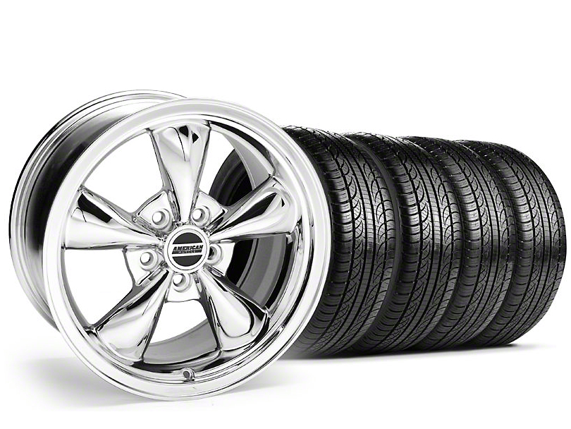 Staggered Bullitt Chrome Wheel & Pirelli Tire Kit - 19x8.5/10 (05-14 Standard GT, V6)