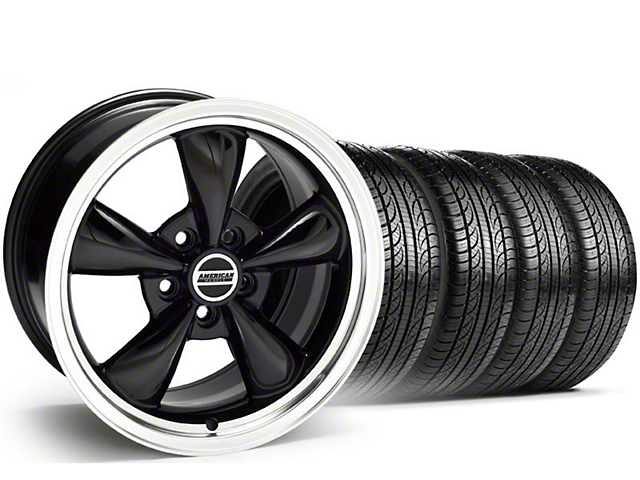 Staggered Bullitt Black Wheel and Pirelli Tire Kit; 19x8.5/10 (05-14 Standard GT, V6)
