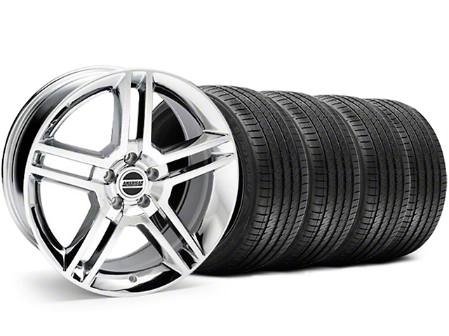 2010 GT500 Style Chrome Wheel and Sumitomo Maximum Performance HTR Z5 Tire Kit; 18x9 (05-14 All, Excluding 13-14 GT500)
