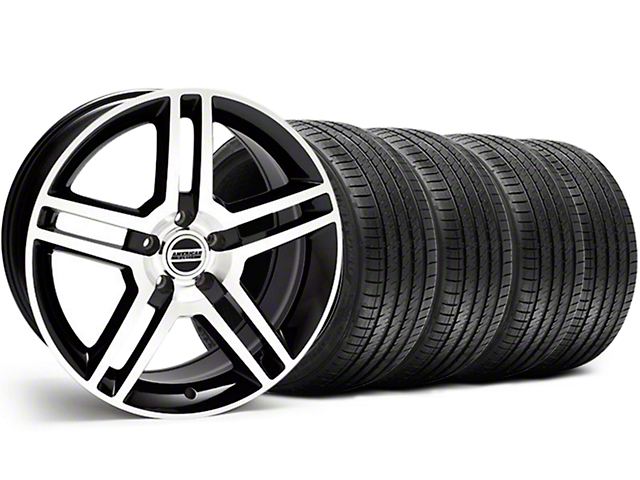 2010 GT500 Style Black Machined Wheel and Sumitomo Maximum Performance HTR Z5 Tire Kit; 18x9 (05-14 All, Excluding 13-14 GT500)