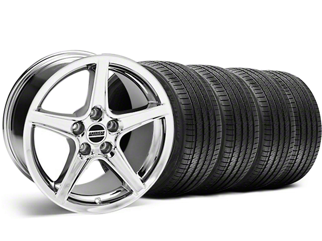 Saleen Style Chrome Wheel and Sumitomo Maximum Performance HTR Z5 Tire Kit; 18x9 (99-04 All)