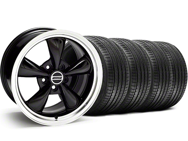 Staggered Bullitt Black Wheel and Sumitomo Maximum Performance HTR Z5 Tire Kit; 18x9/10 (05-10 GT; 05-14 V6)