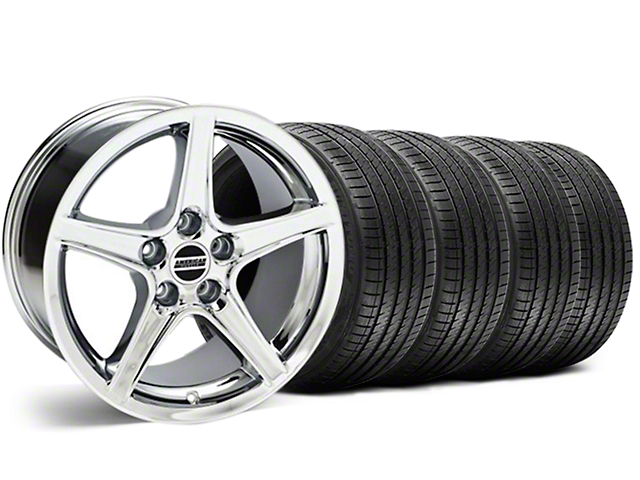 Staggered Saleen Style Chrome Wheel and Sumitomo Maximum Performance HTR Z5 Tire Kit; 18x9/10 (99-04 All)