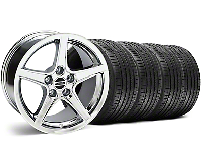Staggered Saleen Style Chrome Wheel & Sumitomo Tire Kit - 18x9/10 (99-04 All)