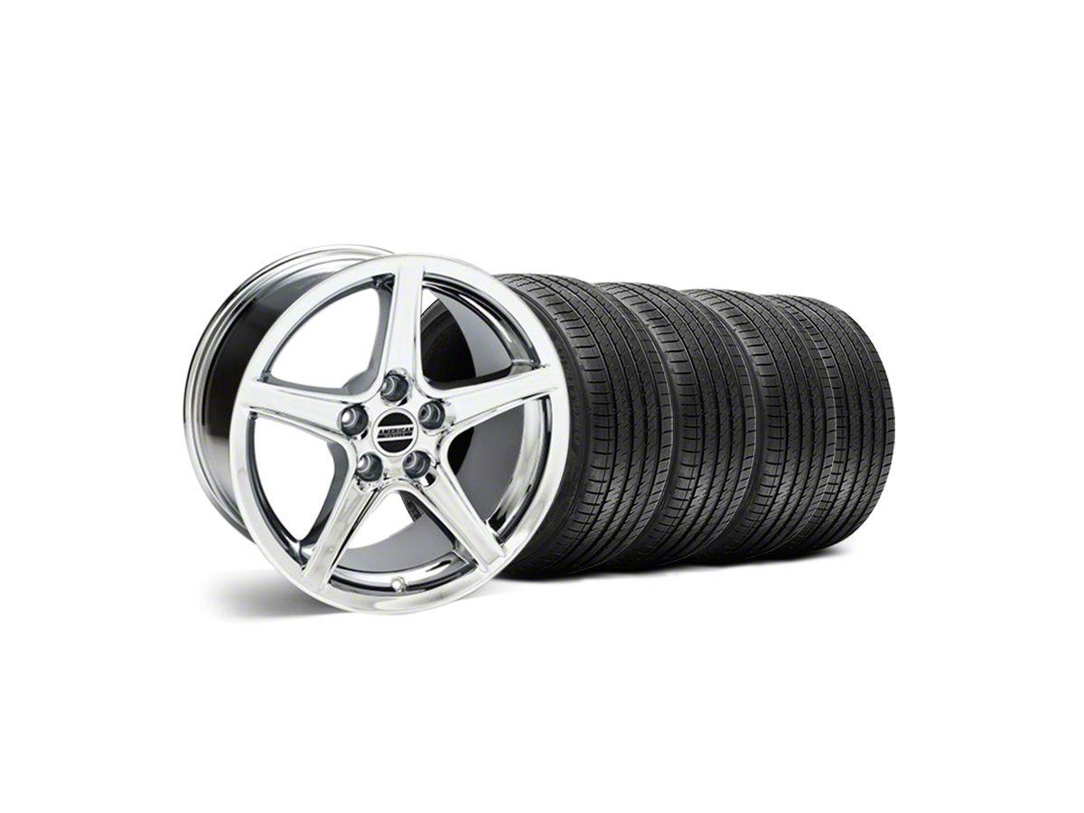 Staggered Saleen Style Chrome Wheel & Sumitomo Maximum Performance HTR Z5  Tire Kit - 18x9/10 (99-04 All)