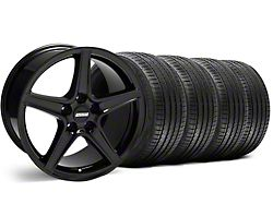 Staggered Saleen Style Black Wheel and Sumitomo Maximum Performance HTR Z5 Tire Kit; 18x9/10 (99-04 All)