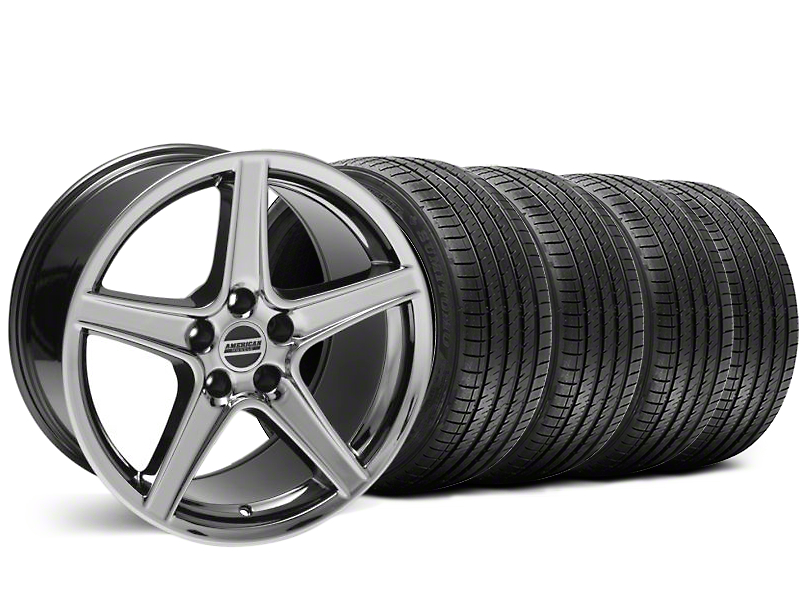 Staggered Saleen Style Black Chrome Wheel and Sumitomo Maximum Performance HTR Z5 Tire Kit; 18x9/10 (99-04 All)