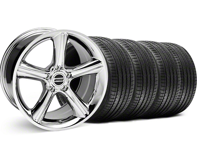 2010 GT Premium Style Chrome Wheel and Sumitomo Maximum Performance HTR Z5 Tire Kit; 18x9 (99-04 All)