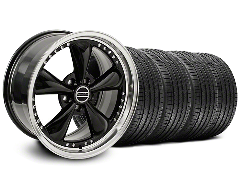 Staggered Bullitt Motorsport Black Wheel & Sumitomo Maximum Performance HTR Z5 Tire Kit - 18x9/10 (05-14 Standard GT, V6)