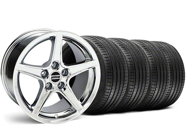 Saleen Style Chrome Wheel & Sumitomo Tire Kit - 18x9 (05-14 GT, V6)